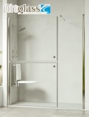 Hidroglas mampara Medellín frontal de 1 hoja abatible seccionada y 1 hoja fija. Fabricación a medida. Envío gratis