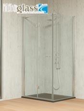 Hidroglas mampara Tarim angular de 2 hojas plegables y 1 hoja fija. Altura standard 188,3cm. Fabricación a medida. Envío gratis