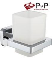Portavaso Pared NUBA NU-08 PyP. Colocación: Con tornillos ó Adhesivo SEALANT Medida: 8,5x10x12,5 cm. Material: Latón Cromo