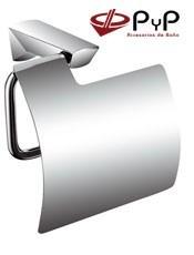 Portarrollos de baño TUCÁN TU-01 PyP. Con tornillos ó Adhesivo SEALANT Medida: 14,5x13x8,5 cm. Acero Inox 304 y Latón Cromo