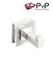 Percha RUBI RU-03 PyP. Colocación: Con tornillos ó Adhesivo SEALANTMedida: 5x5x7,5 cm. Latón, Zámak y Metacrilato