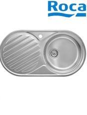 Fregadero Acero Inox. Duo 90 1 cubeta/1 escurridor A870940901 sobre encimera. Medidas: 900 x 480 x 150
