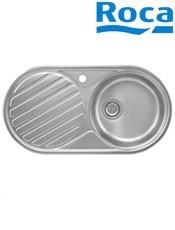 Fregadero Acero Inox. Duo 80 1 cubeta/1 escurridor A870940845 sobre encimera. Medidas: 840 x 440 x 145